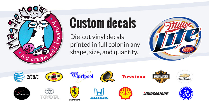 Vinyl decals and printed company logos for walls, windows, and vehicle graphics